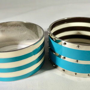 Henri Bendel enameled cuffs turquoise & silver, 2